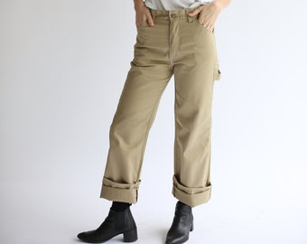 Vintage 29 High Waist Painter Pants | Tan Cotton Poly Utility Trouser | Beige Skater | Carpenter |