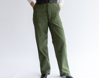 Vintage 30 31 Waist Olive Green Army Pants | Utility Fatigues Military Trouser | F046