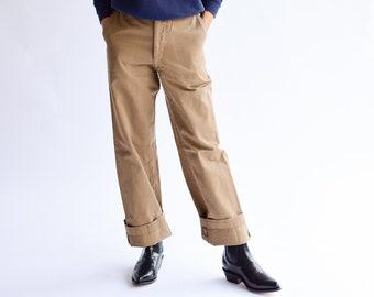 Vintage 25 Waist Pink Wash Khaki Twill Chinos | Wide Leg Crop Pant Beige | Workwear | Khaki Army Trouser | PETITE