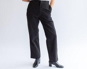 Vintage 26 27 28 29 31 Waist Metal Tab Black Cotton Twill Chinos | Straight Leg Utility Pant Trouser |