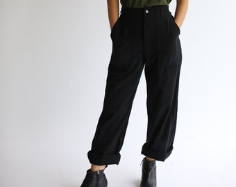 Vintage Black Button Fly Utility Trousers | High Waist Workwear Pants | 24 26 28 30 31 32 33 34 35 36 37 38 40 Waist |