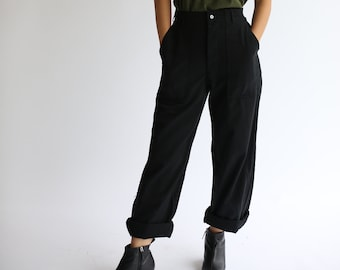 Vintage Black Utility Trousers | Button Fly High Waist Workwear Pants | 28 30 31 32 33 34 35 36 37 38 40 Waist |