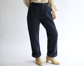 Vintage 33 34 Waist Navy Herringbone Twill Trouser | Dark Blue Pleat Pant | High Rise Elegant Cotton pant |