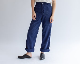 Vintage 35 40 Waist Navy Blue Button Fly Utility Pant  | High Waist Cotton Pants | Workwear Trousers