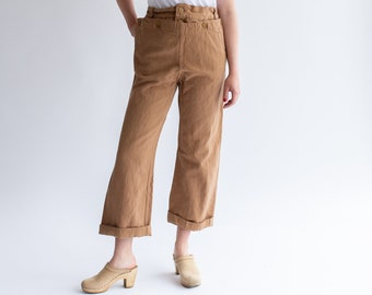 Vintage Overdye Almond [Rust] Denim Broadfall Trousers | High Waist Brown Workwear Pants | Brown Sailor Pants |