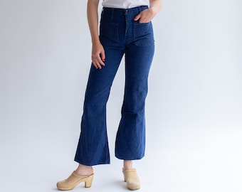 Vintage 26 27 28 29 Waist Dark Wash Flare Denim | 70s bell Bottom Sailor Kick Flare Nautical | 1970 Jane Birkin Jean |