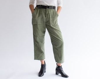 Vintage 30 31 Waist Olive Green Army Pants   Cropped Utility Fatigues Military Trouser   F044