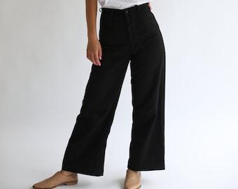 Vintage Overdye Black Sailor Pants | 32 33 34 35 36 High Waist Wide Leg Cotton Twill Utility Pant Trouser