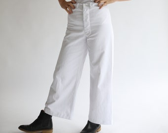 Vintage White Sailor Pant | 40s Wide leg High Rise White Cotton Trouser | 26 27 28 29 32 Waist