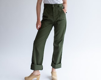 Vintage 29 Waist Army Pants | Cotton Poly Utility Army Pant | Green Fatigue pants | Made in USA