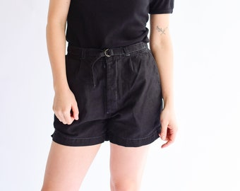 Vintage 25 26 27 28 29 30 31 Waist Black Cotton Blend Shorts | High Waist | Belted Short | Overdye