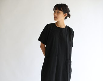 Vintage Overdye Jet Black Short Sleeve Tunic Shirt | Simple Dress | Studio Shirt | Painter Smock | Snap Button Back