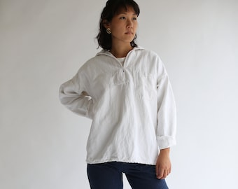 Vintage Bright White Popover Shirt | Herringbone Twill Long Sleeve Pullover | Artist Studio Top | XS S M