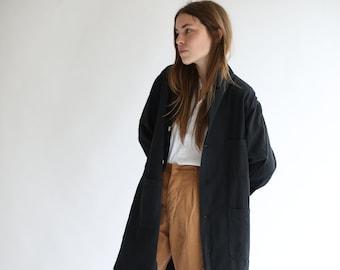 Vintage Black Overdye Shop Jacket | Utility Duster Coat | Artist Smock | S M L XL XXL