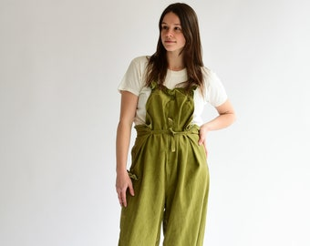 9b68dbde86d5a Vintage Overdye Sweet Pea Green Tie Overalls | 1940s USN WW2 US Navy Deck  Naval Dungarees
