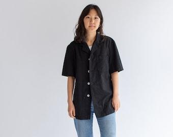 Vintage Black Work Shirt | Workwear Pocket Top |