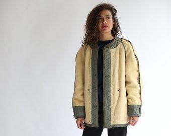 Vintage Olive Green Liner Jacket Reversible   Pile Soft Military Jacket   Fall Layer Jacket   Cotton Green Jacket Vintage