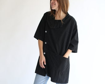 The Walwin Smock in Black | Vintage Overdye Side Button Painter Shirt | Short Sleeve Studio Shirt | Artist Smock | Tunic Shirt | S M L