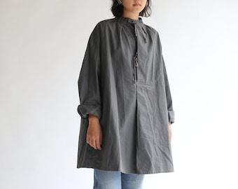 Vintage Teal Green Smock Tunic   Drawstring Tie Front Poet Shirt   Swiss Biaude