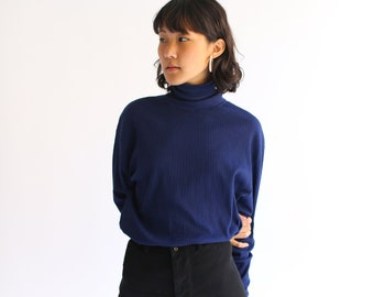 Vintage Navy Blue Ribbed Cotton Turtle Neck Shirt | Long Sleeve Turtleneck Top Shirt | Deadstock