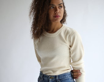 Vintage Cream Waffle Knit Thermal | Light Layer Crew Neck | Waffleknit | Made in USA | Heat-Lok | M L