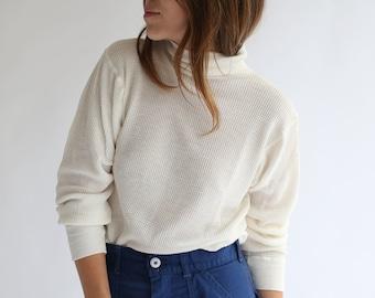 The Copenhagen Thermal   Vintage White Waffle knit Mock Turtleneck Shirt   80s Waffleknit Cotton blend military henley Mockneck