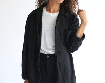 Vintage Overdye Black Striped Flannel Shirt Jacket | Stripe Pajama shirt | Pyjama Blouse | M L