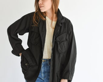 Vintage Overdye Black Jungle Jacket | Ripstop Safari Button up Coat |