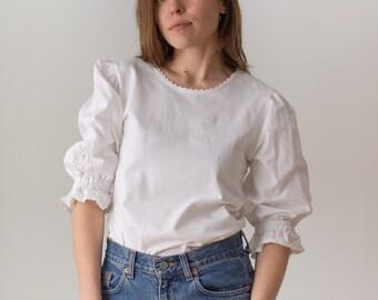 Vintage White Puff Sleeve Shirt | Crochet Folk Blouse | XS S | BP119