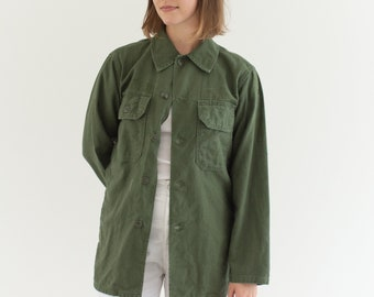 Vintage Olive Green Shirt Army Jacket | 70s Unisex Cotton Button Up | S | GS002