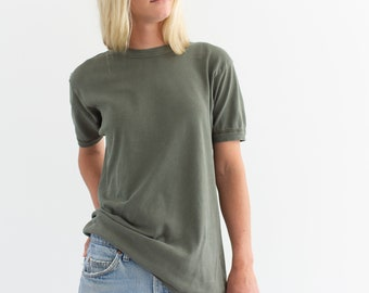 Vintage Sage Green T-Shirt | 80s Worn Tee Shirt | 100% Cotton | S |