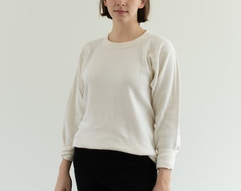 The Oslo Thermal | Vintage Cream Waffle Knit Shirt | Light Layer Crew Neck | Waffleknit | Made in USA | Heat-Lok