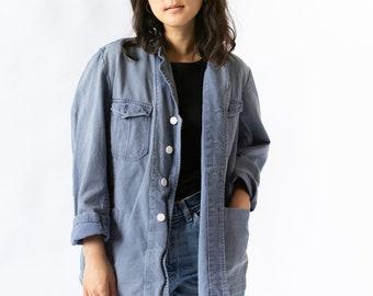 Vintage Blue Sun Faded Chore Jacket   Cotton Workwear Utility Work Coat Blazer   M