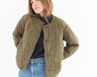 Vintage Olive Green Cotton Quilt Jacket | Puffer Coat | Liner | M | CC012