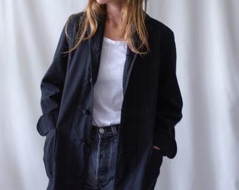Vintage Black Knot Chore Jacket | Cotton French Workwear Style Utility Blazer | 50s | XS S M
