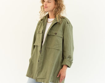 Vintage Olive Green Herringbone Twill Army Jacket | Unisex HBT Green Cotton Button Up Shirt | L | GS005