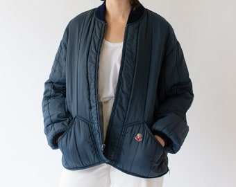 Vintage Navy Blue Quilt Puffer Liner Zip Jacket | Quilted Nylon Coat | Made in USA | L XL