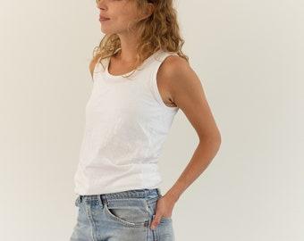 The Bosio Tank | Vintage White Tank Top | 100% Paper Thin Cotton Singlet | Scoop Neck Undershirt | XS S |