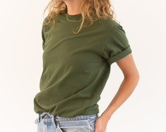 The Valencia Tee | Army Green Crew T-Shirt | Olive Green Cotton Crewneck Tee Shirt | Washed Deadstock | S M