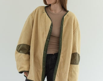 Vintage Reversible Green Cream Liner Jacket | 50s Pile Nylon Coat | L |