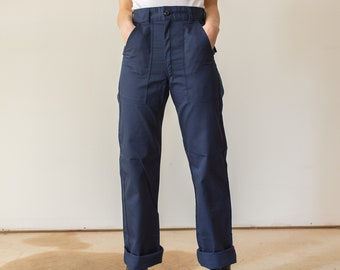 Vintage Navy Blue Utility Trousers | 24 27 28 Waist | High Waist Cotton Poly Fatigues | Made in USA