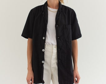 Vintage Black Short Sleeve Work Shirt | Workwear Pocket Top | XS S M |