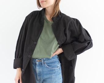 Vintage Black Chore Jacket | Lightweight Round Three Pocket | Cotton Style Coat Blazer | L XL |