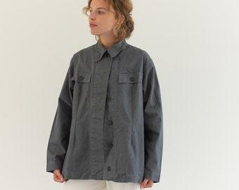 Vintage Grey Coat   Cotton Utility Work Jacket   M   IT064