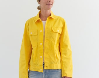 Vintage Yellow Work Jacket | Two Pocket Lightweight Coat | Made in Italy | S M |