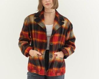 Vintage Red Yellow Black Shadow Plaid Coat | Americana Jacket | Plaid Outerwear | Wool Plaid Jacket