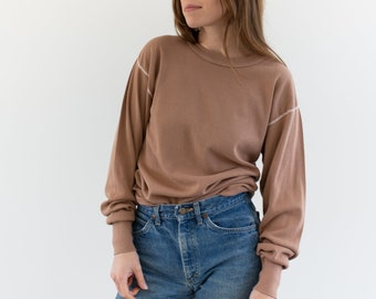 Vintage Dusty Pink Long Sleeve Thermal | Contrast Stitch 100% Cotton Shirt | M L |