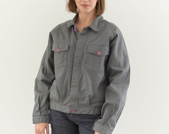 Vintage Grey Bomber Coat | Unisex Cotton Utility Work Jacket | Raglan Sleeves Pink Buttons | Made in Italy | M | IT116
