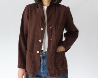 Vintage Hickory Brown Overdye Chore Jacket | Dark Brown Cotton Utility Work Coat Blazer | XS S M L