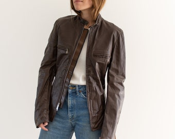 Vintage Dark Brown Leather Motorcycle Jacket | Brooks Sportswear Cafe Racer | Deadstock now | Made in usa | xxs xs | 32